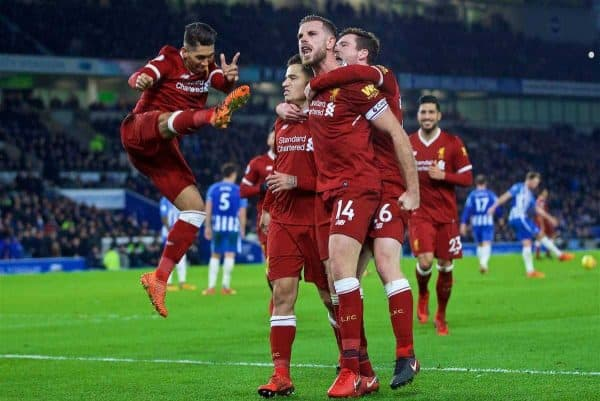 BRIGHTON AND HOVE, ENGLAND - Saturday, December 2, 2017: Liverpool's Philippe Coutinho Correia celebrates scoring the fourth goal with team-mates Roberto Firmino, Andy Robertson, captain Jordan Henderson during the FA Premier League match between Brighton & Hove Albion FC and Liverpool FC at the American Express Community Stadium. (Pic by David Rawcliffe/Propaganda)