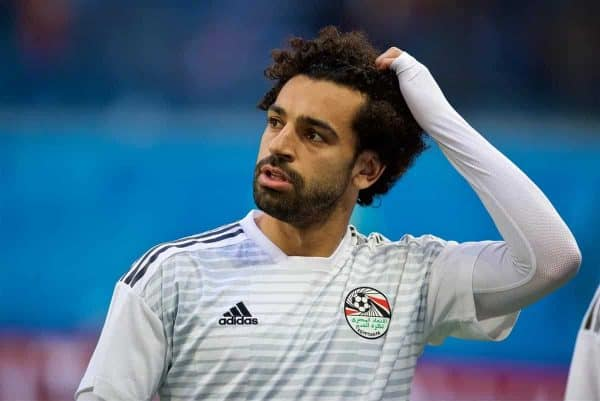 SAINT PETERSBURG, RUSSIA - Sunday, June 17, 2018: Egypt's Mohamed Salah during the pre-match warm-up before the FIFA World Cup Russia 2018 Group A match between Russia and Egypt at the Saint Petersburg Stadium. (Pic by David Rawcliffe/Propaganda)