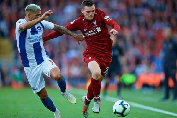 LIVERPOOL, ENGLAND - Saturday, August 25, 2018: Liverpool's Andy Robertson (right) and Brighton & Hove Albion's Anthony Knockaert (left) during the FA Premier League match between Liverpool FC and Brighton & Hove Albion FC at Anfield. (Pic by David Rawcliffe/Propaganda)