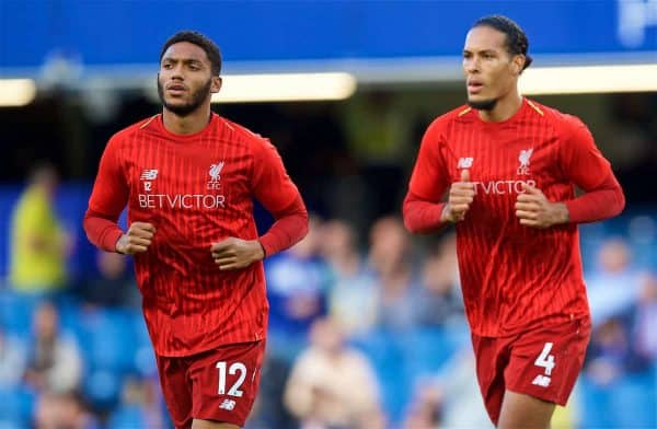 LONDON, ENGLAND - Saturday, September 29, 2018: Liverpool's Joe Gomez (left) and Virgil van Dijk during the pre-match warm-up before the FA Premier League match between Chelsea FC and Liverpool FC at Stamford Bridge. (Pic by David Rawcliffe/Propaganda)