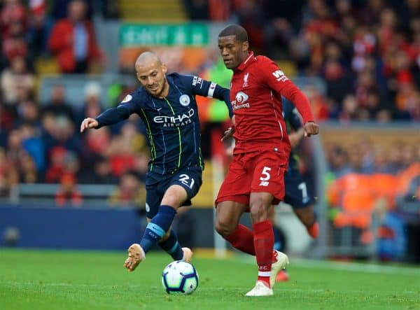 LIVERPOOL, ENGLAND - Sunday, October 7, 2018: Liverpool's Georginio Wijnaldum (R) is challenged by Manchester City's David Silva during the FA Premier League match between Liverpool FC and Manchester City FC at Anfield. (Pic by David Rawcliffe/Propaganda)
