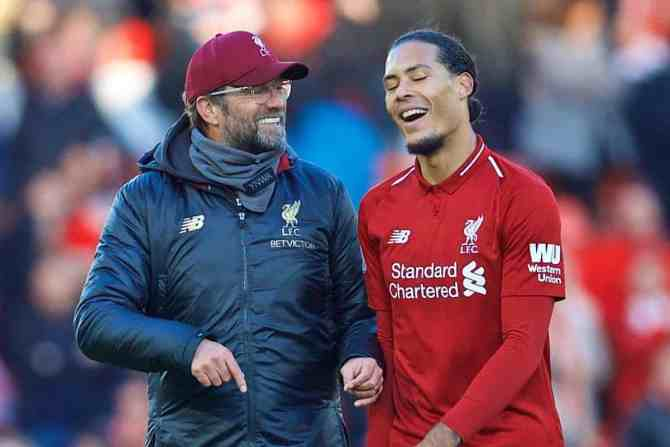 LIVERPOOL, ENGLAND - Saturday, October 27, 2018: Liverpool's manager J¸rgen Klopp and captain Virgil van Dijk after the FA Premier League match between Liverpool FC and Cardiff City FC at Anfield. Liverpool 4-0. (Pic by David Rawcliffe/Propaganda)