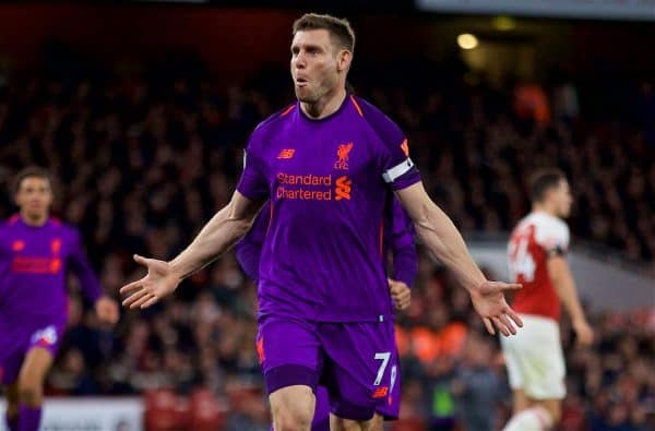 LONDON, ENGLAND - Saturday, November 3, 2018: Liverpool's James Milner celebrates scoring the first goal during the FA Premier League match between Arsenal FC and Liverpool FC at Emirates Stadium. (Pic by David Rawcliffe/Propaganda)