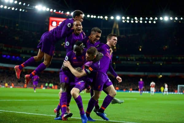 LONDON, ENGLAND - Saturday, November 3, 2018: Liverpool's James Milner celebrates scoring the first goal with team-mate during the FA Premier League match between Arsenal FC and Liverpool FC at Emirates Stadium. (Pic by David Rawcliffe/Propaganda)