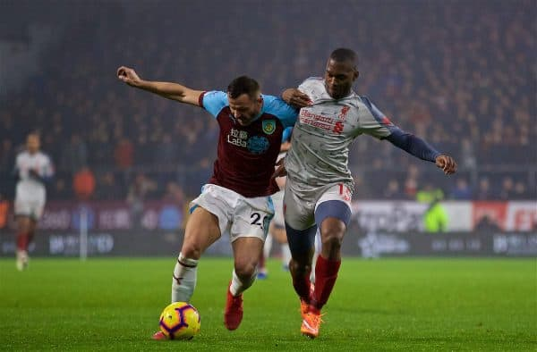 BURNLEY, ENGLAND - Wednesday, December 5, 2018: Liverpool's Daniel Sturridge (R) and Burnley's Phil Bardsley during the FA Premier League match between Burnley FC and Liverpool FC at Turf Moor. (Pic by David Rawcliffe/Propaganda)