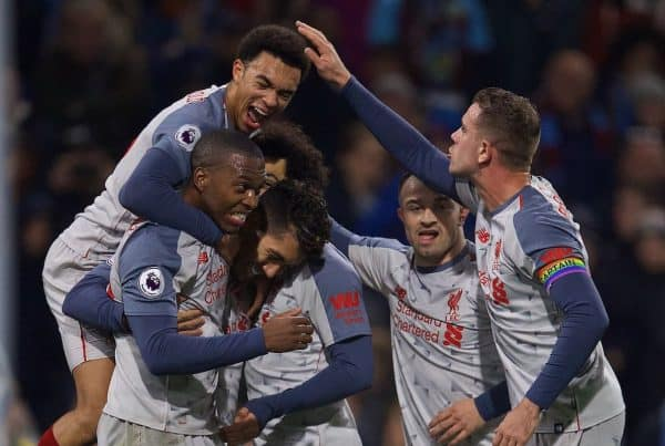 BURNLEY, ENGLAND - Wednesday, December 5, 2018: Liverpool's Roberto Firmino celebrates scoring the second goal with team-mates during the FA Premier League match between Burnley FC and Liverpool FC at Turf Moor. (Pic by David Rawcliffe/Propaganda)