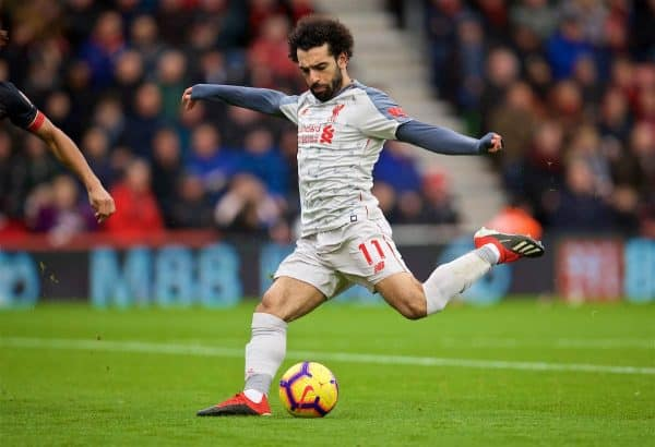 BOURNEMOUTH, ENGLAND - Saturday, December 8, 2018: Liverpool's Mohamed Salah scores the second goal during the FA Premier League match between AFC Bournemouth and Liverpool FC at the Vitality Stadium. (Pic by David Rawcliffe/Propaganda)