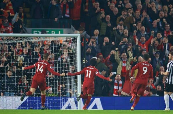 LIVERPOOL, ENGLAND - Boxing Day, Wednesday, December 26, 2018: Liverpool's Mohamed Salah celebrates scoring the second goal, from a penalty kick, during the FA Premier League match between Liverpool FC and Newcastle United FC at Anfield. (Pic by David Rawcliffe/Propaganda)