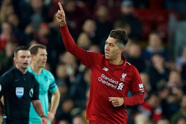 LIVERPOOL, ENGLAND - Saturday, December 29, 2018: Liverpool's Roberto Firmino celebrates scoring the second goal during the FA Premier League match between Liverpool FC and Arsenal FC at Anfield. (Pic by David Rawcliffe/Propaganda)