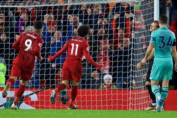 LIVERPOOL, ENGLAND - Saturday, December 29, 2018: Liverpool's Mohamed Salah celebrates scoring the fourth goal during the FA Premier League match between Liverpool FC and Arsenal FC at Anfield. (Pic by David Rawcliffe/Propaganda)
