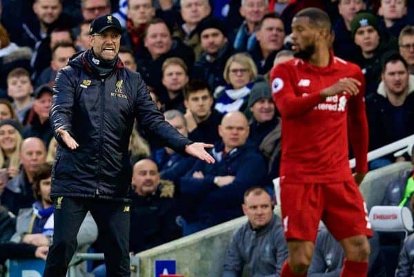 BRIGHTON AND HOVE, ENGLAND - Saturday, January 12, 2019: Liverpool's manager J¸rgen Klopp reacts during the FA Premier League match between Brighton & Hove Albion FC and Liverpool FC at the American Express Community Stadium. (Pic by David Rawcliffe/Propaganda)