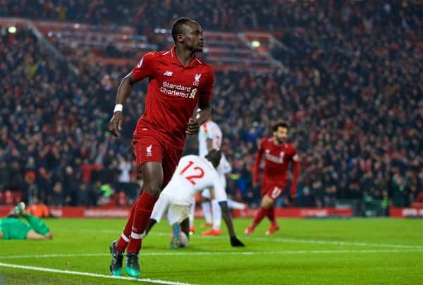 LIVERPOOL, ENGLAND - Saturday, January 19, 2019: Liverpool's Sadio Mane celebrates scoring the fourth goal during the FA Premier League match between Liverpool FC and Crystal Palace FC at Anfield. (Pic by David Rawcliffe/Propaganda)