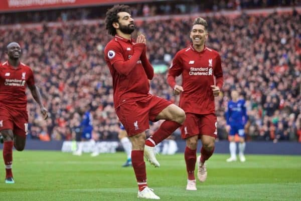 LIVERPOOL, ENGLAND - Sunday, April 14, 2019: Liverpool's Mohamed Salah celebrates scoring the second goal during the FA Premier League match between Liverpool FC and Chelsea FC at Anfield. (Pic by David Rawcliffe/Propaganda)
