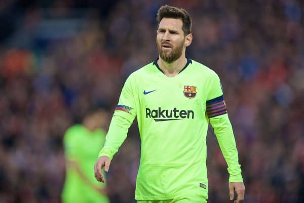 LIVERPOOL, ENGLAND - Tuesday, May 7, 2019: FC Barcelona's Lionel Messi looks dejected during the UEFA Champions League Semi-Final 2nd Leg match between Liverpool FC and FC Barcelona at Anfield. (Pic by David Rawcliffe/Propaganda)