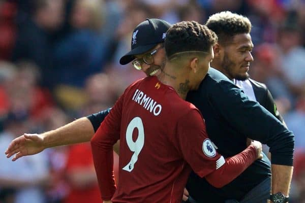 LIVERPOOL, ENGLAND - Saturday, September 14, 2019: Liverpool's manager Jürgen Klopp embraces Roberto Firmino after the FA Premier League match between Liverpool FC and Newcastle United FC at Anfield. Liverpool won 3-1. (Pic by David Rawcliffe/Propaganda)