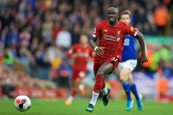 LIVERPOOL, ENGLAND - Saturday, October 5, 2019: Liverpool's Sadio Mane during the FA Premier League match between Liverpool FC and Leicester City FC at Anfield. (Pic by David Rawcliffe/Propaganda)