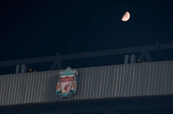 LIVERPOOL, ENGLAND - Tuesday, November 5, 2019: A half moon rises above Anfield during the UEFA Champions League Group E match between Liverpool FC and KRC Genk at Anfield. (Pic by Laura Malkin/Propaganda)