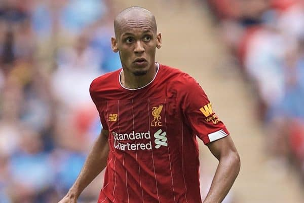 LONDON, ENGLAND - Sunday, August 4, 2019: Liverpool's Fabio Henrique Tavares 'Fabinho' during the FA Community Shield match between Manchester City FC and Liverpool FC at Wembley Stadium. (Pic by David Rawcliffe/Propaganda)