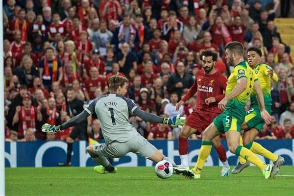 LIVERPOOL, ENGLAND - Friday, August 9, 2019: Liverpool's Mohamed Salah scores the second goal during the opening FA Premier League match of the season between Liverpool FC and Norwich City FC at Anfield. (Pic by David Rawcliffe/Propaganda)