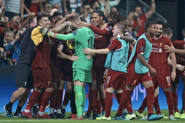 ISTANBUL, TURKEY - Wednesday, August 14, 2019: Liverpool's goalkeeper Adrián San Miguel del Castillo celebrates with team-mates after saving the decisive fifth penalty from Chelsea in the shoot-out to win the Super Cup during the UEFA Super Cup match between Liverpool FC and Chelsea FC at Besiktas Park. Liverpool won 5-4 on penalties after a 1-1 draw. (Pic by David Rawcliffe/Propaganda)