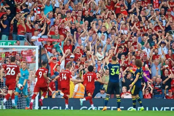LIVERPOOL, ENGLAND - Saturday, August 24, 2019: Liverpool's Mohamed Salah celebrates scoring the second goal, from a penalty kick, during the FA Premier League match between Liverpool FC and Arsenal FC at Anfield. (Pic by David Rawcliffe/Propaganda)