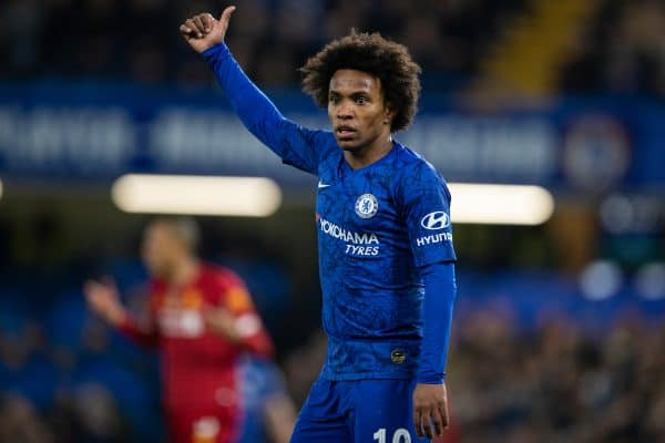 LONDON, ENGLAND - Tuesday, March 3, 2020: Chelsea's Willian Borges da Silva during the FA Cup 5th Round match between Chelsea FC and Liverpool FC at Stamford Bridge. (Pic by David Rawcliffe/Propaganda)