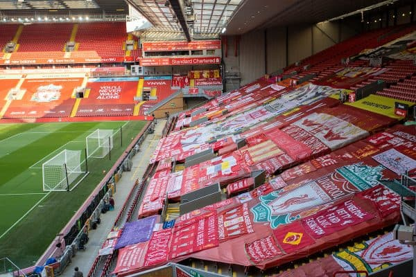 LIVERPOOL, ENGLAND - Wednesday, June 24, 2020: Liverpool supporters' banners on the Spion Kop pictured before the FA Premier League match between Liverpool FC and Crystal Palace FC at Anfield. The game was played behind closed doors due to the UK government's social distancing laws during the Coronavirus COVID-19 Pandemic. (Pic by David Rawcliffe/Propaganda)