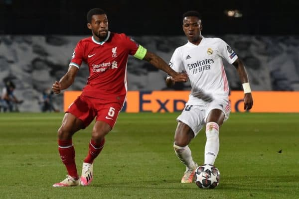 MADRID, SPAIN - Tuesday, April 6, 2021: Liverpool's Georginio Wijnaldum (L) during the UEFA Champions League Quarter-Final 1st Leg game between Real Madird CF and Liverpool FC at the Estadio Alfredo Di Stefano. (Pic by Propaganda)