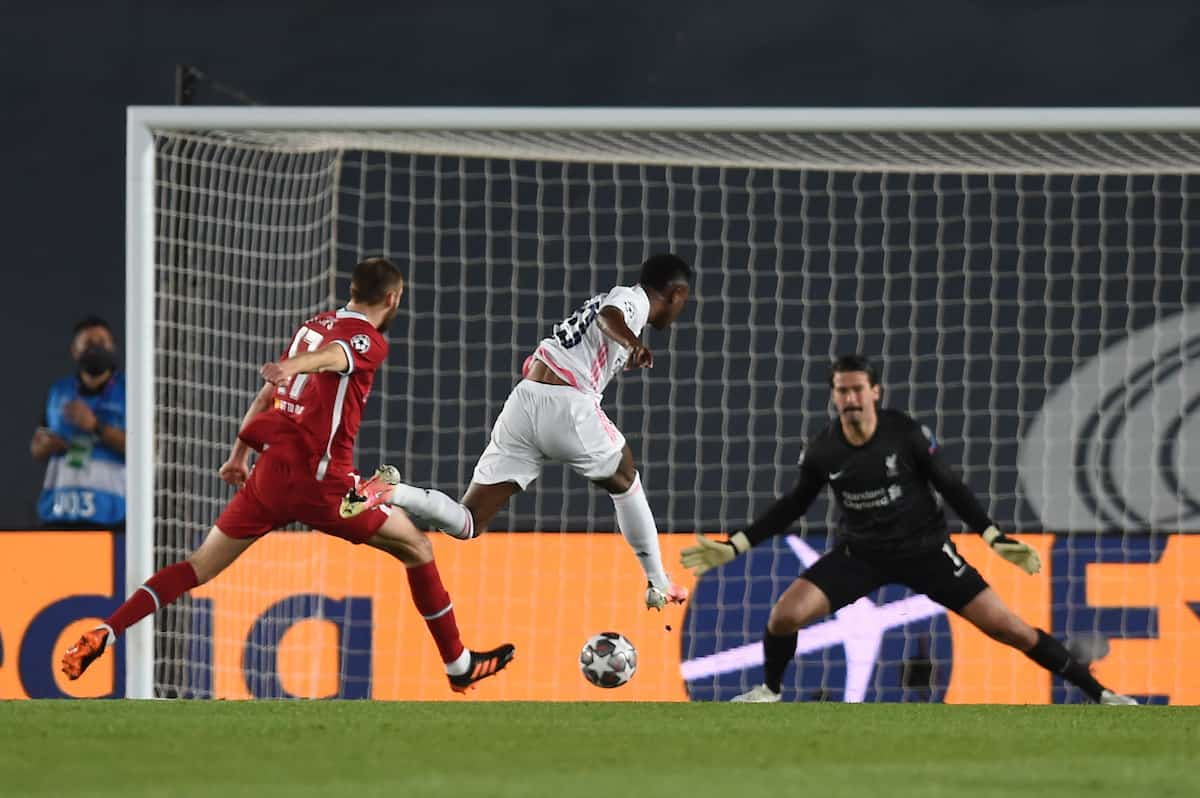 MADRID, SPAIN - Tuesday, April 6, 2021: Real Madrid's Vini?cius Ju?nior scores the first goal during the UEFA Champions League Quarter-Final 1st Leg game between Real Madird CF and Liverpool FC at the Estadio Alfredo Di Stefano. (Pic by Propaganda)