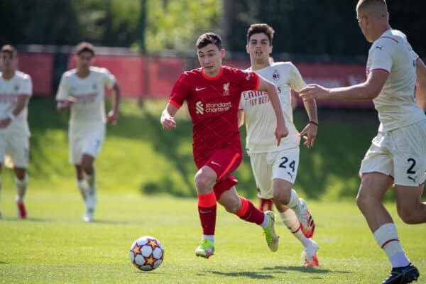 LIVERPOOL, ENGLAND - Wednesday, September 15, 2021: Liverpool's Max Woltman during the UEFA Youth League Group B Matchday 1 game between Liverpool FC Under19's and AC Milan Under 19's at the Liverpool Academy. (Pic by David Rawcliffe/Propaganda)