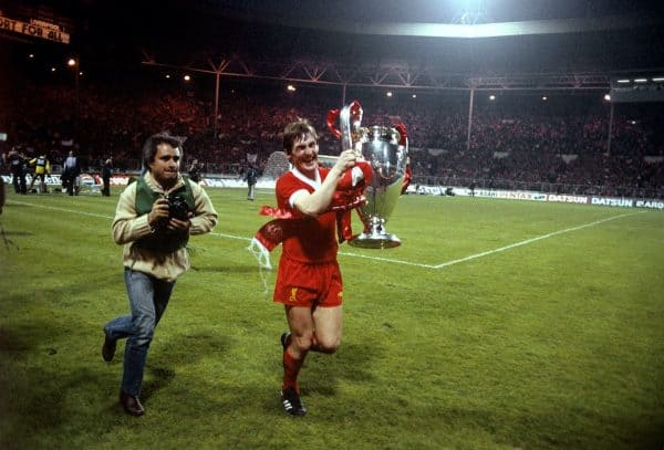 Kenny Dalglish celebrates with the European Cup. 1978, Club Brugge, Wembley.