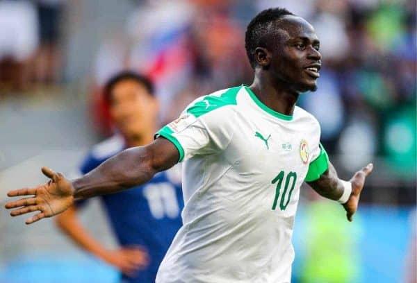 YEKATERINBURG, RUSSIA - JUNE 24, 2018: Senegal's Sadio Mane celebrates scoring in a 2018 FIFA World Cup Group H match against Japan at Yekaterinburg Arena. Sergei Bobylev/TASS