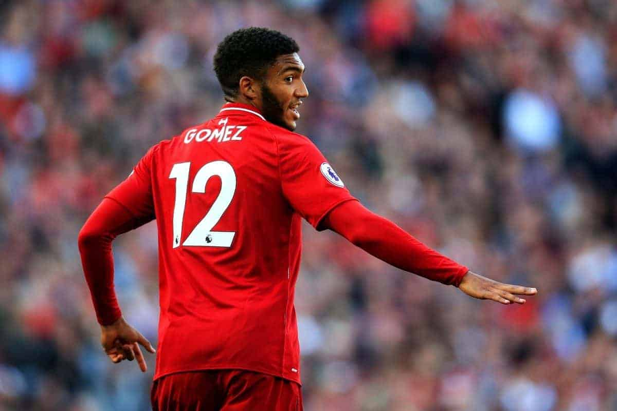 Liverpool's Joe Gomez reacts during the Premier League match at Anfield Stadium, Liverpool. Picture date 25th August 2018. Picture credit should read: Matt McNulty/Sportimage via PA Images