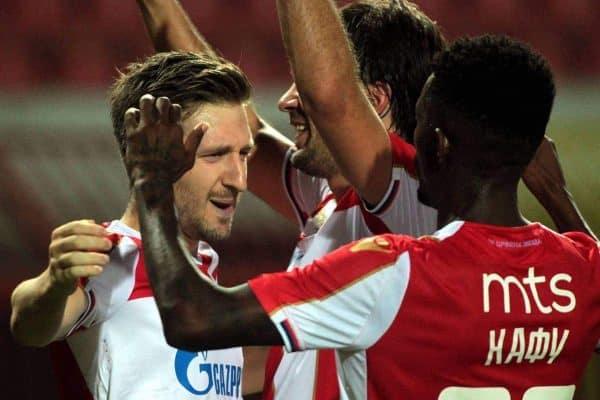 15.09.2018 Belgrade(Serbia) FK Crvena Zvezda(FC Red Star)-FK Radnik Surdulica Superliga men s football Marko Marin (L) FK Crvena Zvezda(FC Red Star) celebrate second scored goal on match : PUBLICATIONxNOTxINxSER.
