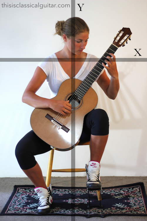 Lesson: Sitting Position - Classical Guitar - Footstool Diagram