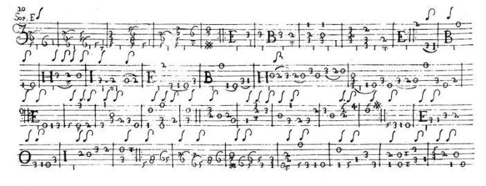 Corbetta Passachali in D minor mixed tablature
