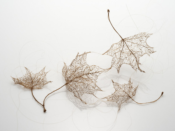 Tree Leaves Made of Stitched and Knotted Human Hair textiles leaves hair