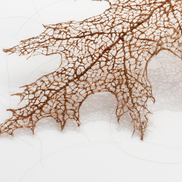 Tree Leaves Made of Stitched and Knotted Human Hair trees textile hair art