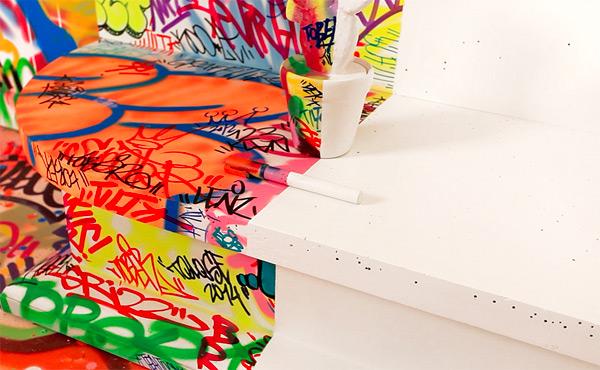 A French Hotel Room Half Covered in Graffiti interior design graffiti France art
