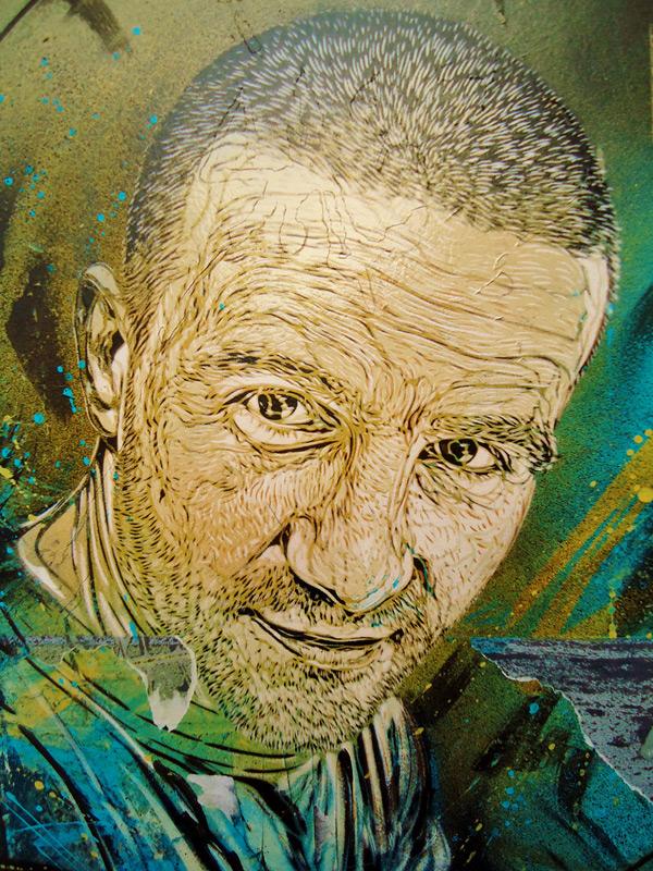New Stencil Works by Street Artist C215 street art stencils