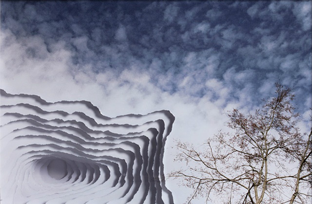 Clouds, Smoke and Portals Torn into Photographs paper collage