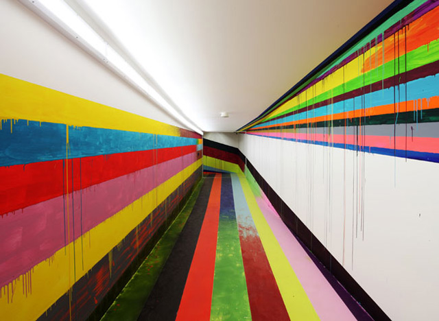 Visitors Tunnel at the JVA/Prison in Düsseldorf by Markus Linnenbrink prisons painting murals interior design art