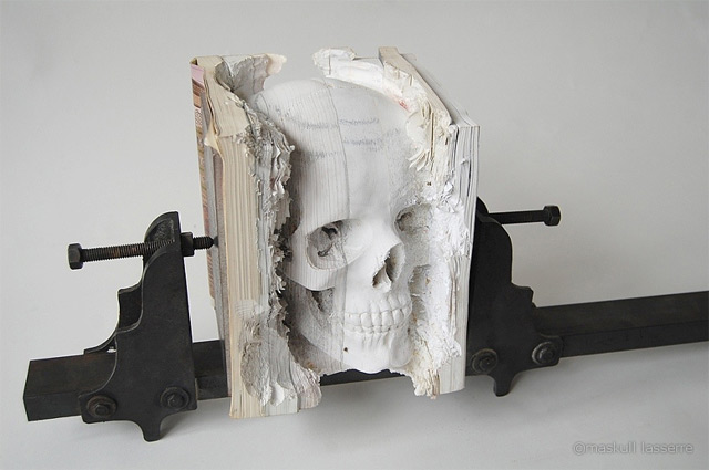 A Skull of Books sculpture books art anatomy