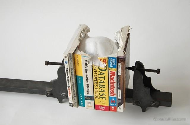 A Skull of Books sculpture books art anatomy