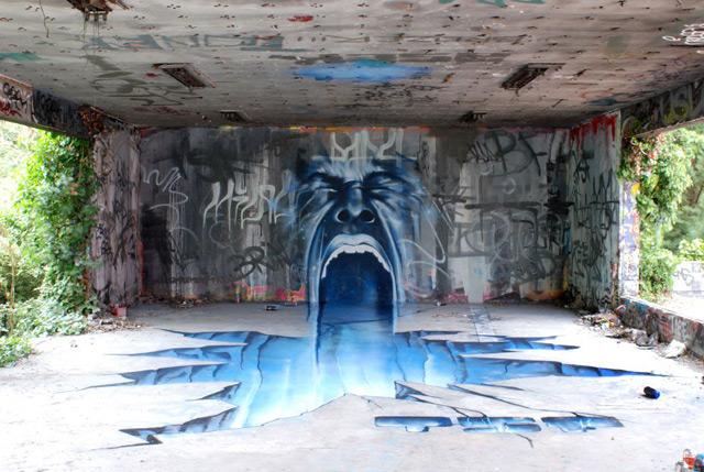 Anamorphic Graffiti by TSF Crew street art graffiti