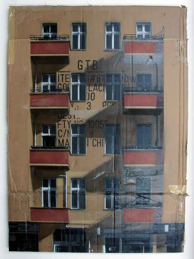 Urban Cityscapes Spray Painted on Cardboard Panels by EVOL street art stencils graffiti