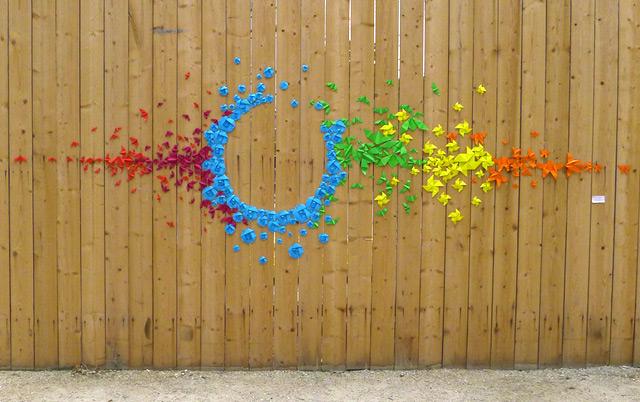 Rainbow Origami Street Art by Mademoiselle Maurice street art Paris paper origami