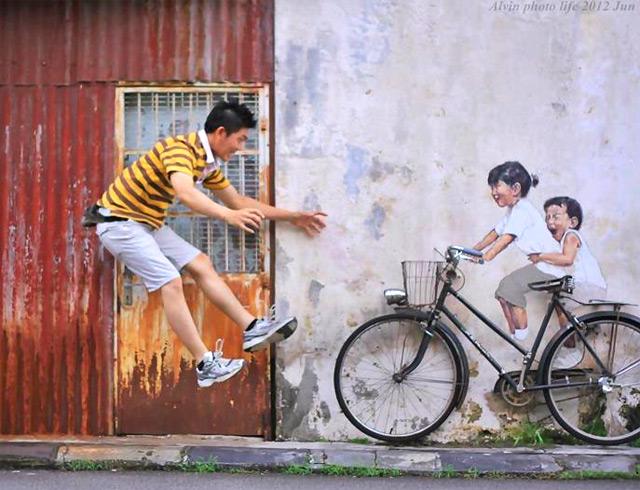 Peintures interactifs sur les rues de la Malaisie Malaisie art de rue