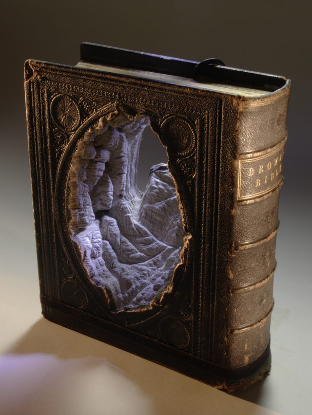 New Carved Book Landscapes by Guy Laramee sculpture paper books