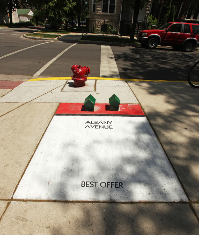 New Street Artist Bored Turns Chicago Sidewalks into an Alternative Monopoly Game street art games Chicago